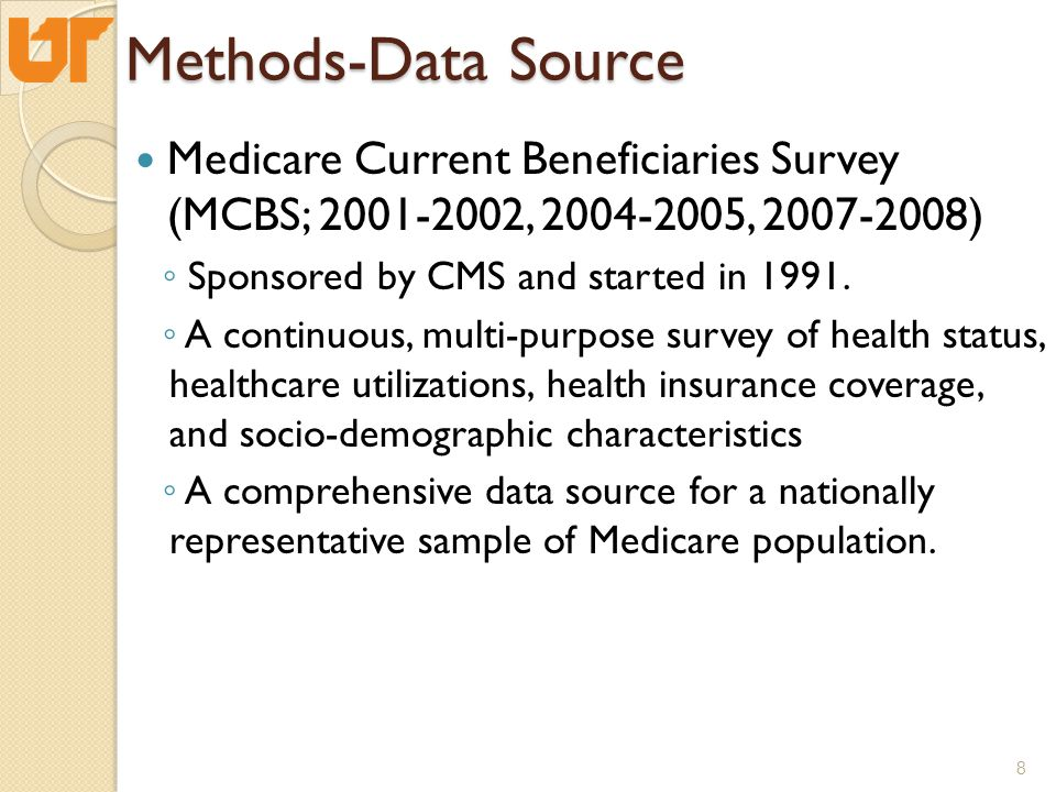Methods-Data Source Medicare Current Beneficiaries Survey (MCBS; 2001-2002, 2004-2005, 2007-2008) ◦ Sponsored by CMS and started in 1991.