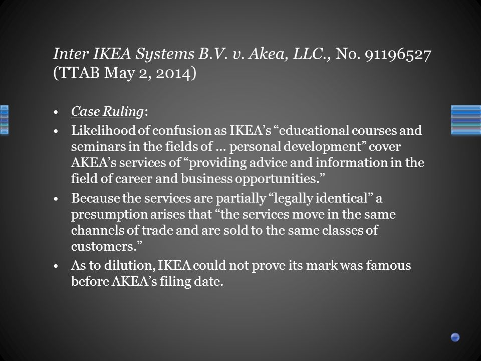 Case Ruling: Likelihood of confusion as IKEA's educational courses and seminars in the fields of … personal development cover AKEA's services of providing advice and information in the field of career and business opportunities. Because the services are partially legally identical a presumption arises that the services move in the same channels of trade and are sold to the same classes of customers. As to dilution, IKEA could not prove its mark was famous before AKEA's filing date.