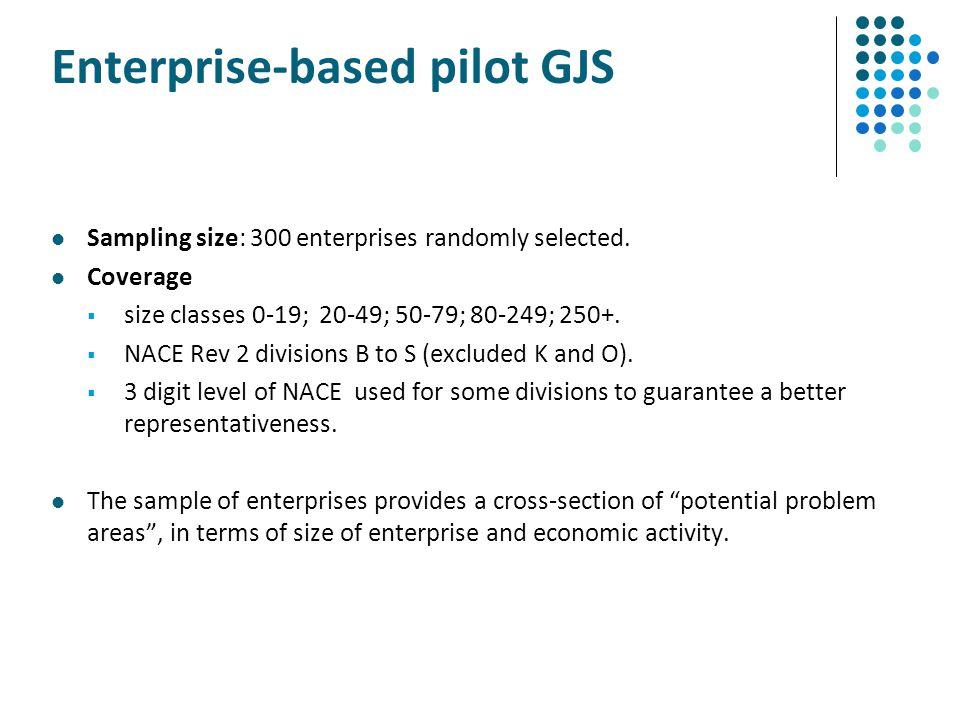 Enterprise-based pilot GJS Sampling size: 300 enterprises randomly selected. Coverage  size classes 0-19; 20-49; 50-79; 80-249; 250+.  NACE Rev 2 di