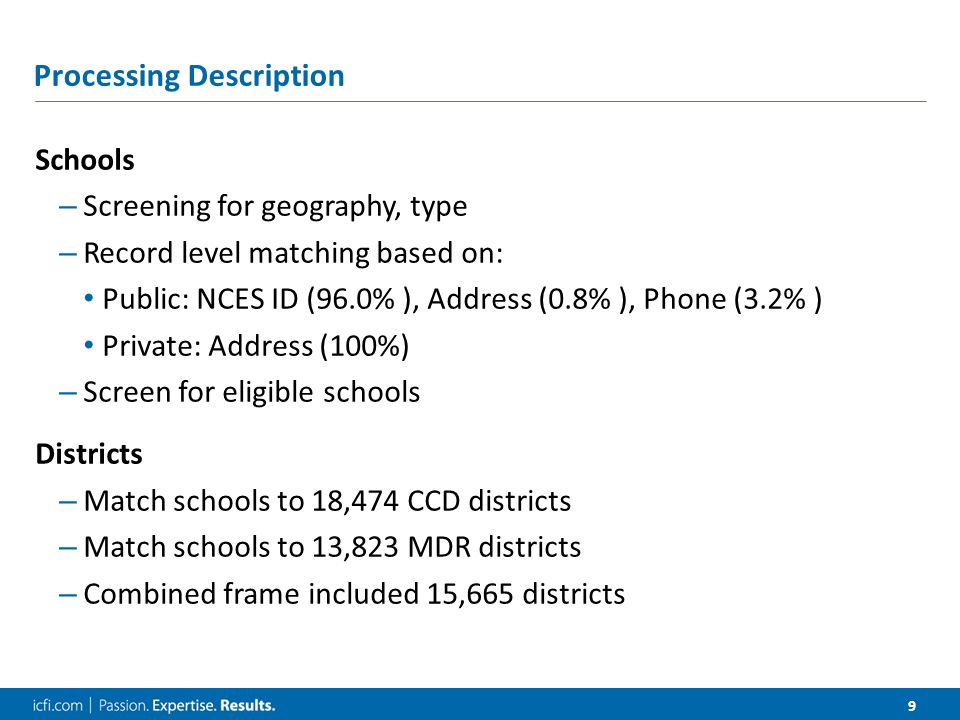 10 Processing Summary Public Schools Existing Both Sources51,74984.0% Existing MDR Only3,9056.3% Added CCD Only5,9889.7% Total61,642 Private Schools Existing Both Sources13,99557.0% Existing MDR Only3,93616.0% Added PSS Only6,60726.9% Total24,538