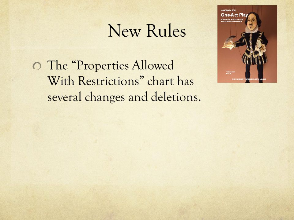 New Rules The Properties Allowed With Restrictions chart has several changes and deletions.