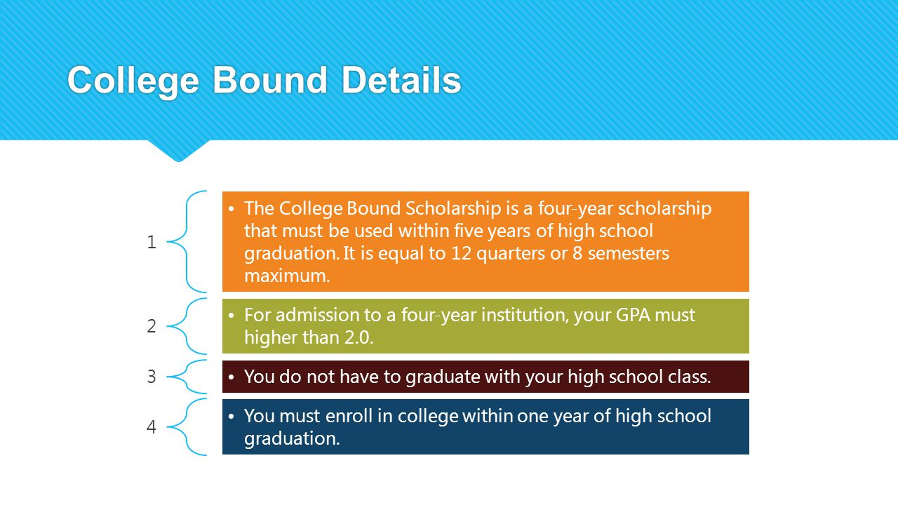 College Bound Details 1 The College Bound Scholarship is a four-year scholarship that must be used within five years of high school graduation.