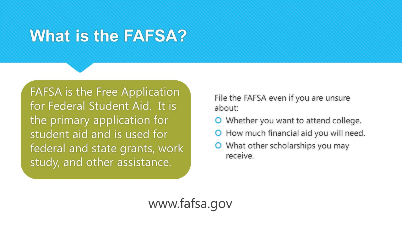 What is the FAFSA. FAFSA is the Free Application for Federal Student Aid.