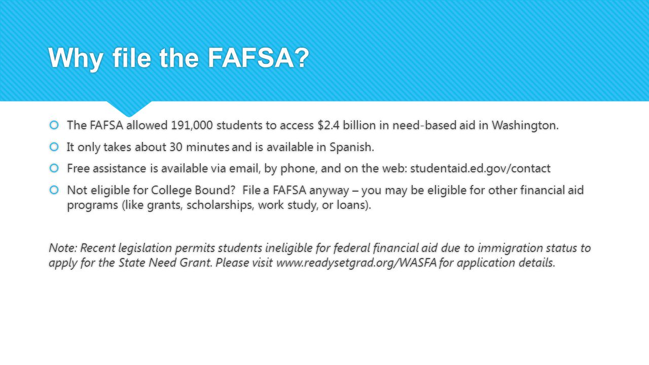 Why file the FAFSA.