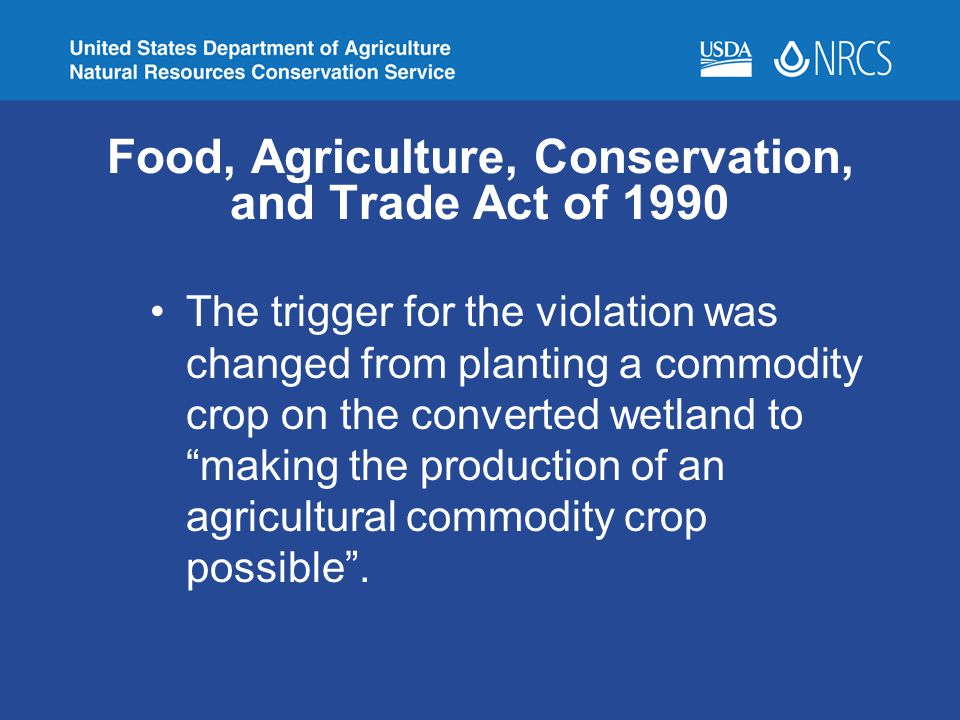 Food, Agriculture, Conservation, and Trade Act of 1990 The trigger for the violation was changed from planting a commodity crop on the converted wetla