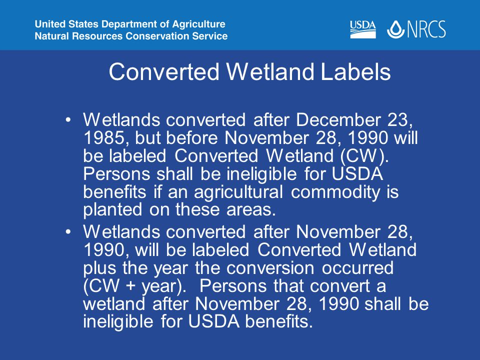 Converted Wetland Labels Wetlands converted after December 23, 1985, but before November 28, 1990 will be labeled Converted Wetland (CW). Persons shal