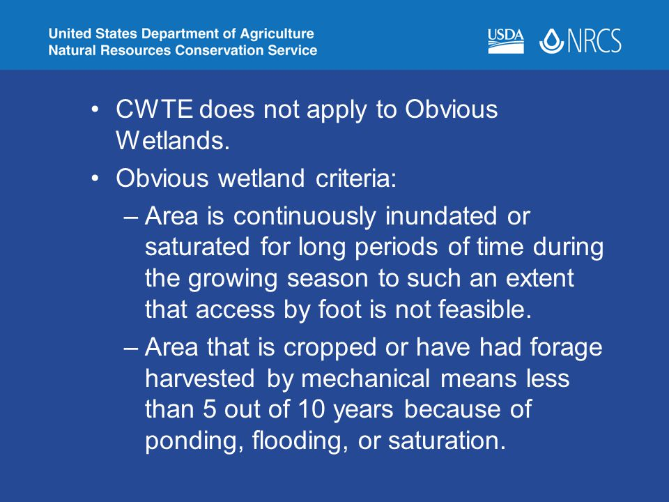 CWTE does not apply to Obvious Wetlands. Obvious wetland criteria: –Area is continuously inundated or saturated for long periods of time during the gr
