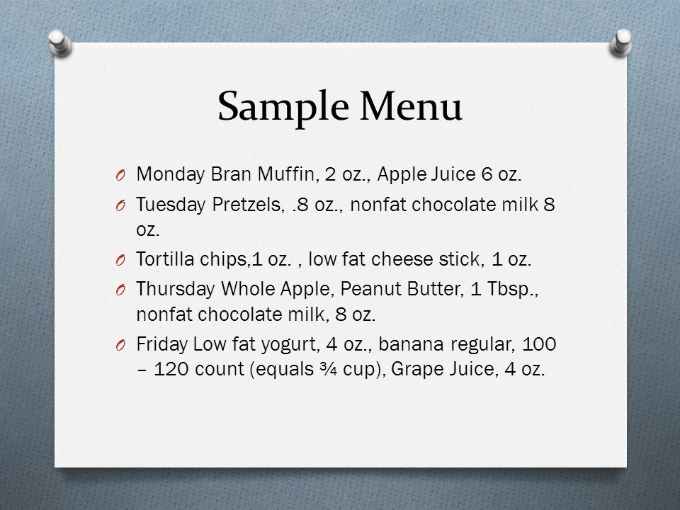 Sample Menu O Monday Bran Muffin, 2 oz., Apple Juice 6 oz.