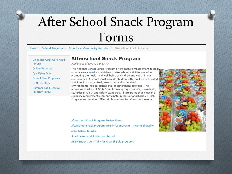 After School Snack Program Forms