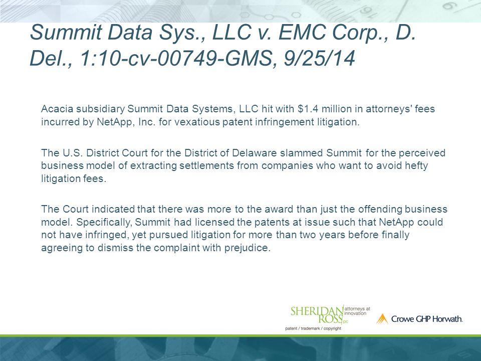 Summit Data Sys., LLC v. EMC Corp., D.