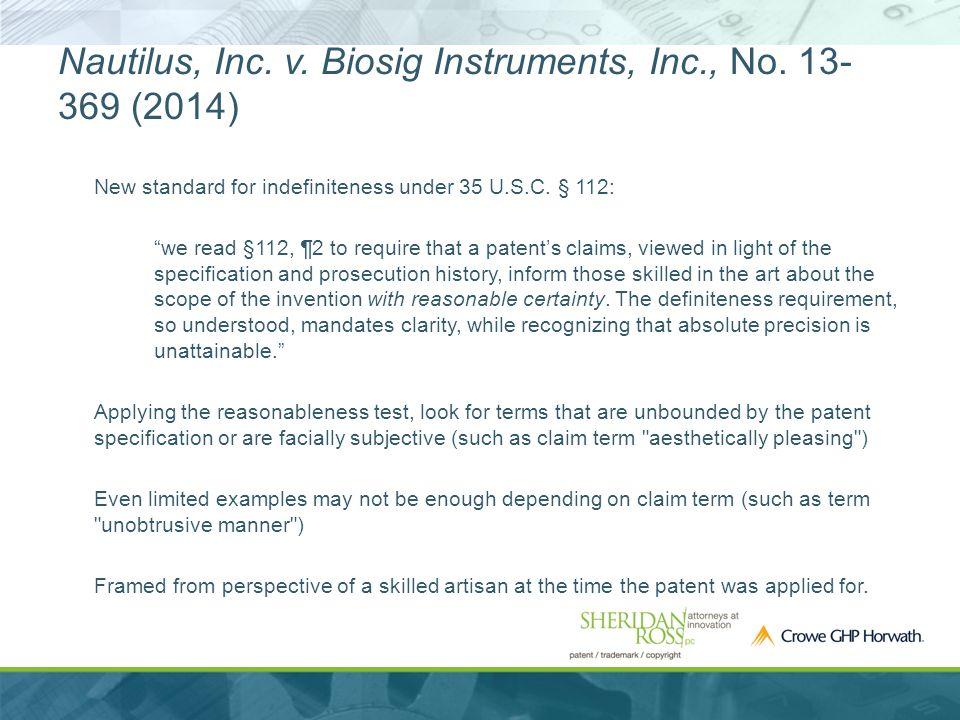 Nautilus, Inc. v. Biosig Instruments, Inc., No.