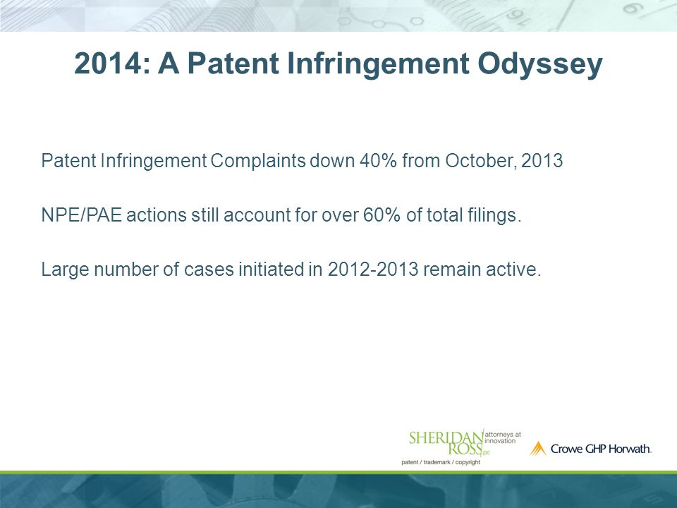 Patent Infringement Complaints down 40% from October, 2013 NPE/PAE actions still account for over 60% of total filings.