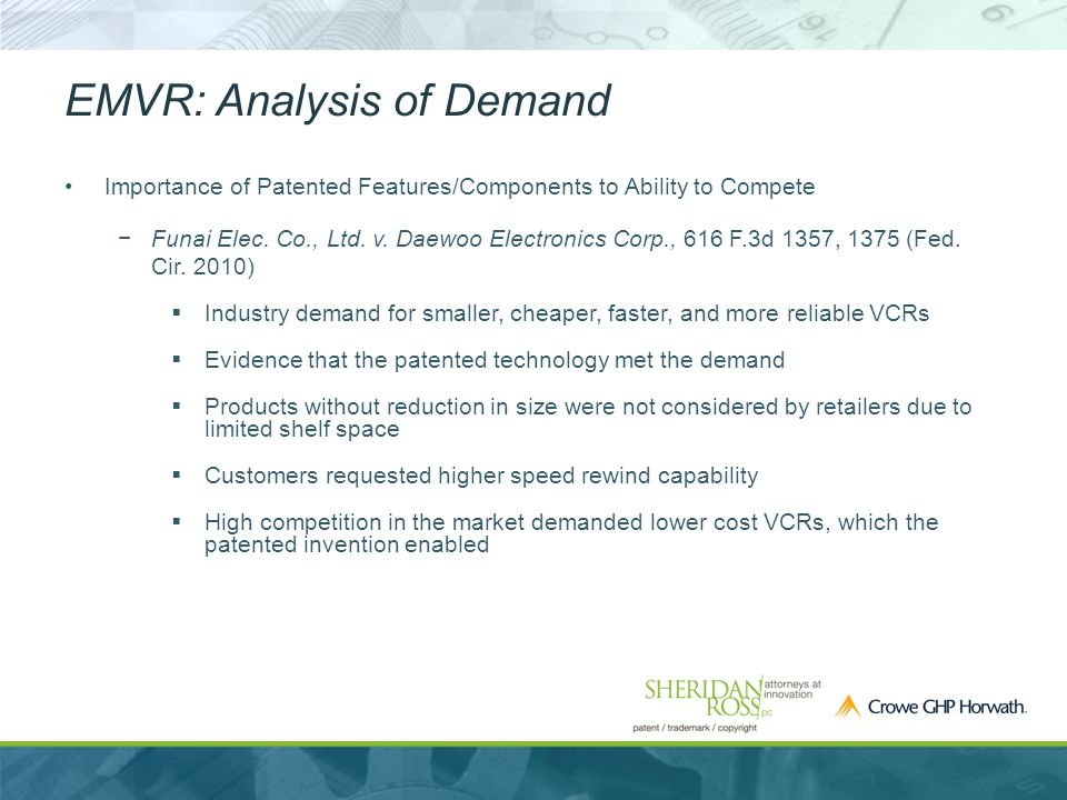 EMVR: Analysis of Demand Importance of Patented Features/Components to Ability to Compete −Funai Elec.