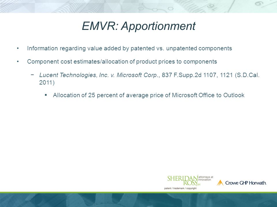 EMVR: Apportionment Information regarding value added by patented vs.