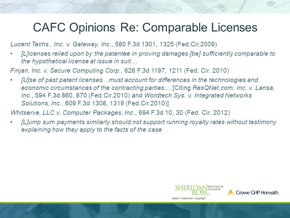 CAFC Opinions Re: Comparable Licenses Lucent Techs., Inc.