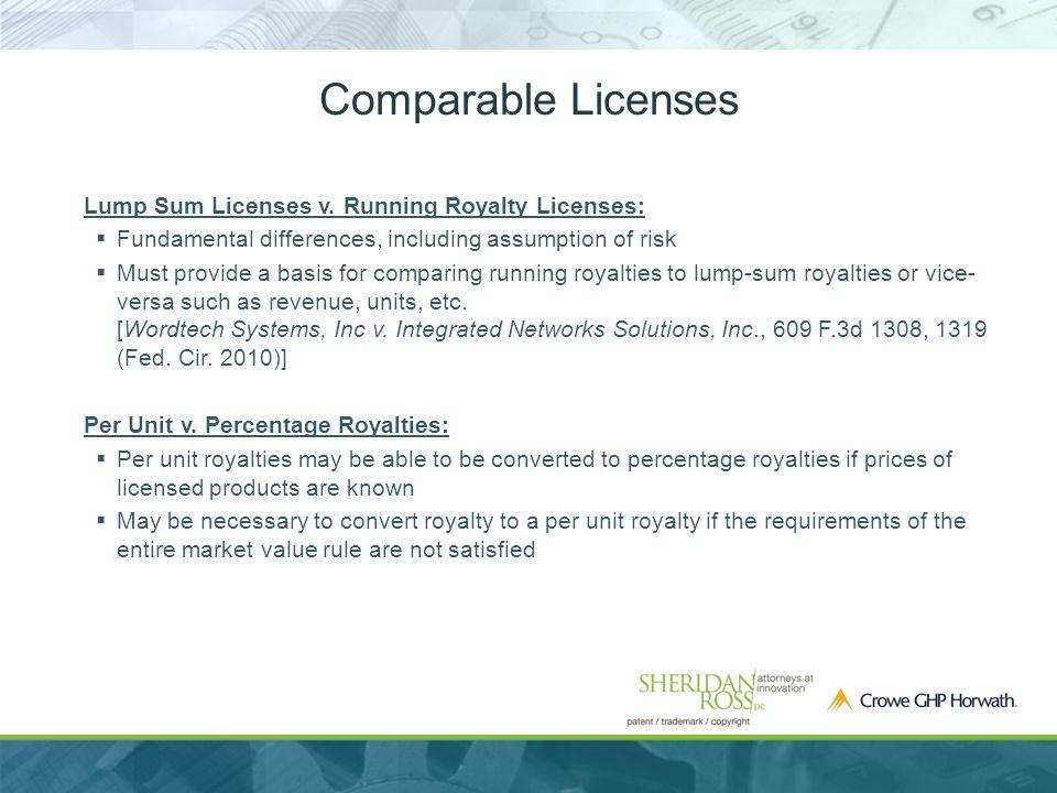 Comparable Licenses Lump Sum Licenses v.