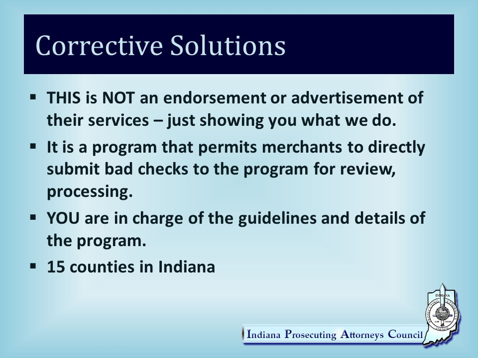 Corrective Solutions  THIS is NOT an endorsement or advertisement of their services – just showing you what we do.  It is a program that permits mer