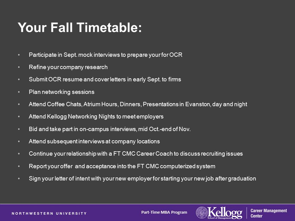 Your Fall Timetable: Participate in Sept.