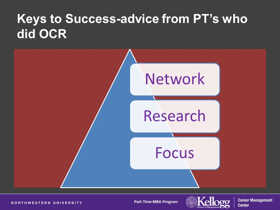Keys to Success-advice from PT's who did OCR NetworkResearchFocus Part-Time MBA Program