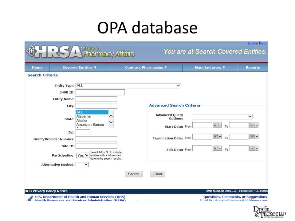 OPA database