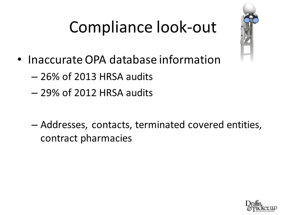 Compliance look-out Inaccurate OPA database information – 26% of 2013 HRSA audits – 29% of 2012 HRSA audits – Addresses, contacts, terminated covered entities, contract pharmacies
