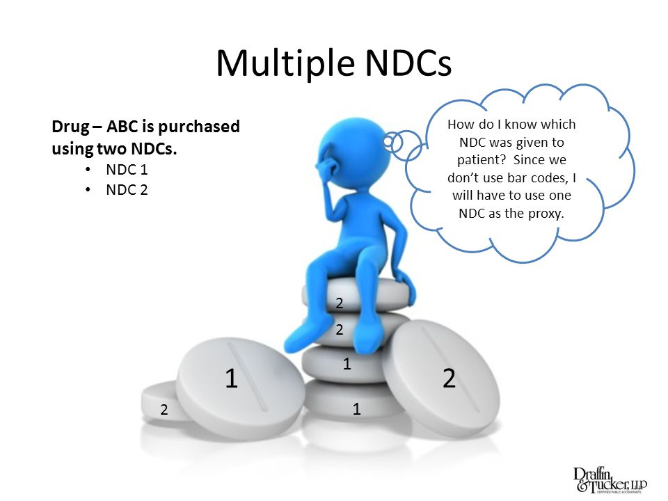 Multiple NDCs Drug – ABC is purchased using two NDCs. NDC 1 NDC 2 1 2 2 1 2 2 1 How do I know which NDC was given to patient? Since we don't use bar c