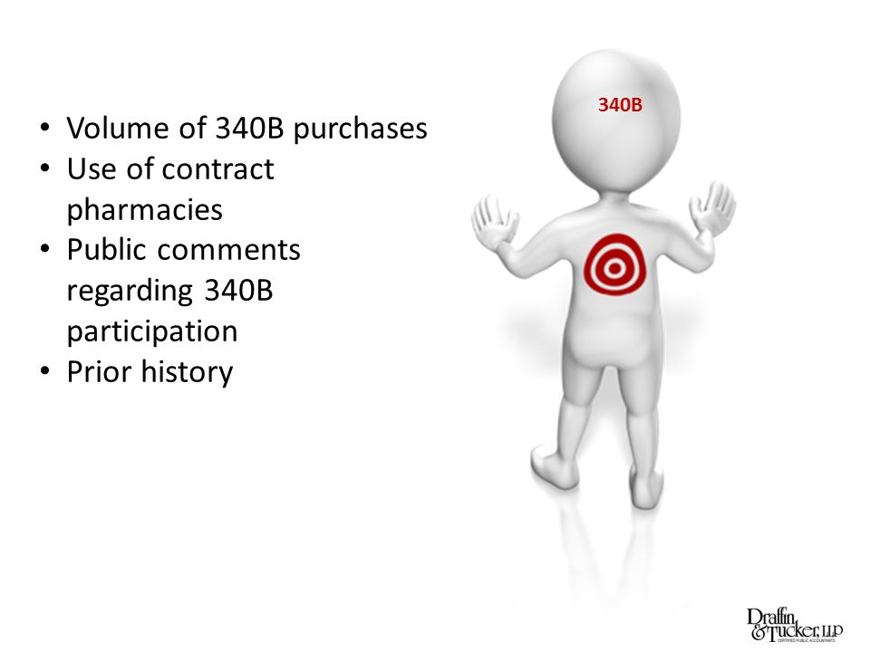 340B Volume of 340B purchases Use of contract pharmacies Public comments regarding 340B participation Prior history