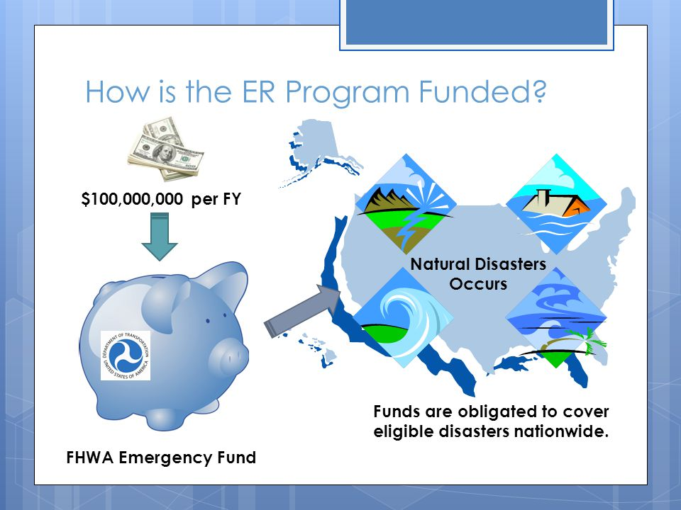 How is the ER Program Funded? $100,000,000 per FY FHWA Emergency Fund Natural Disasters Occurs Funds are obligated to cover eligible disasters nationw
