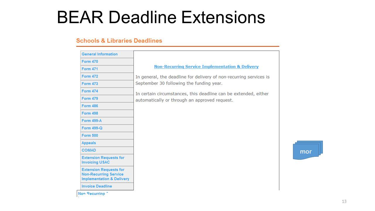 BEAR Deadline Extensions 13 mor