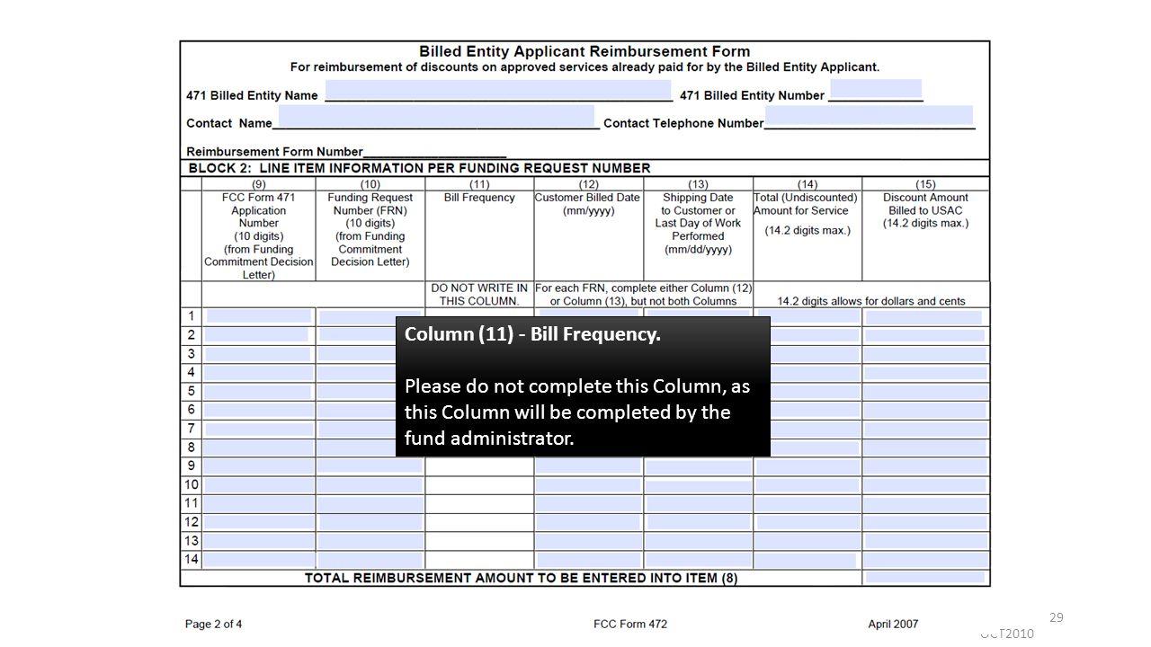 OCT2010 29 Column (11) - Bill Frequency.