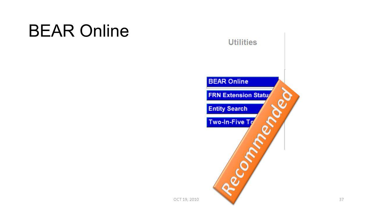 BEAR Online OCT 19, 201037