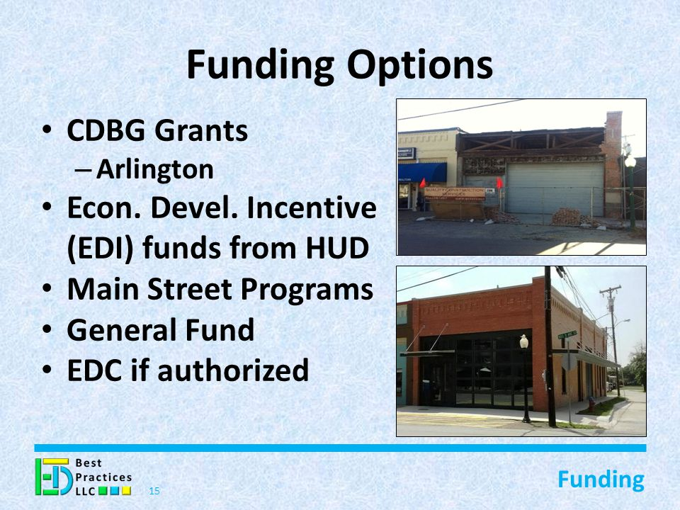 Funding Options CDBG Grants – Arlington Econ. Devel.