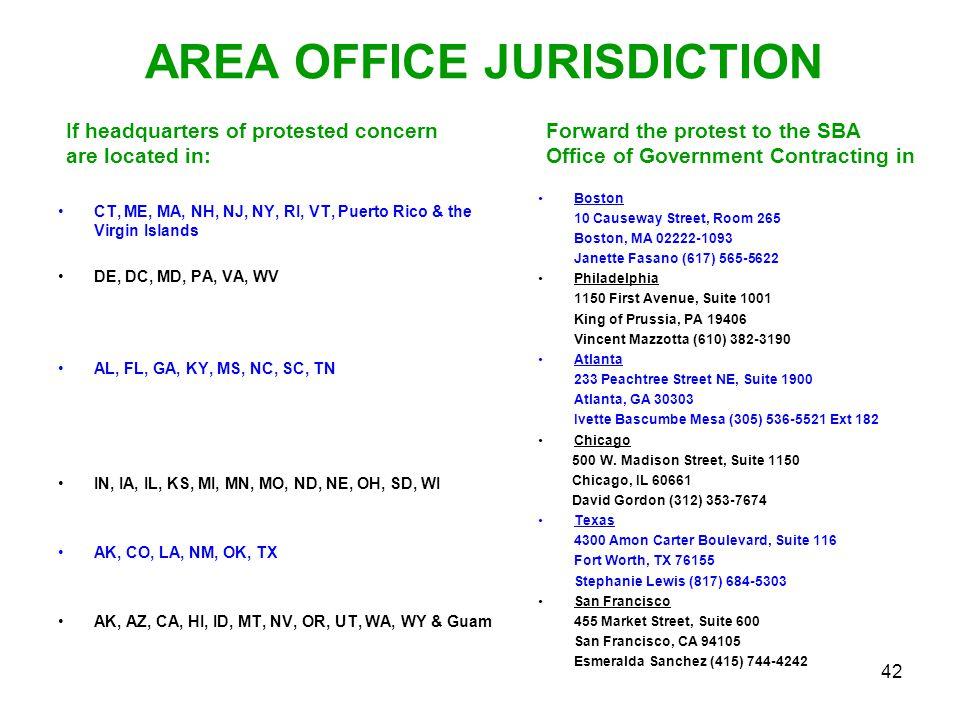 42 AREA OFFICE JURISDICTION CT, ME, MA, NH, NJ, NY, RI, VT, Puerto Rico & the Virgin Islands DE, DC, MD, PA, VA, WV AL, FL, GA, KY, MS, NC, SC, TN IN,