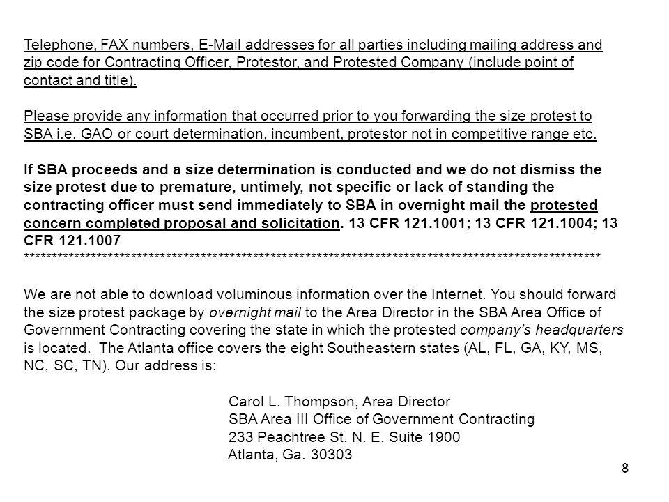 9 FAR versus SBA regulations: which governs.