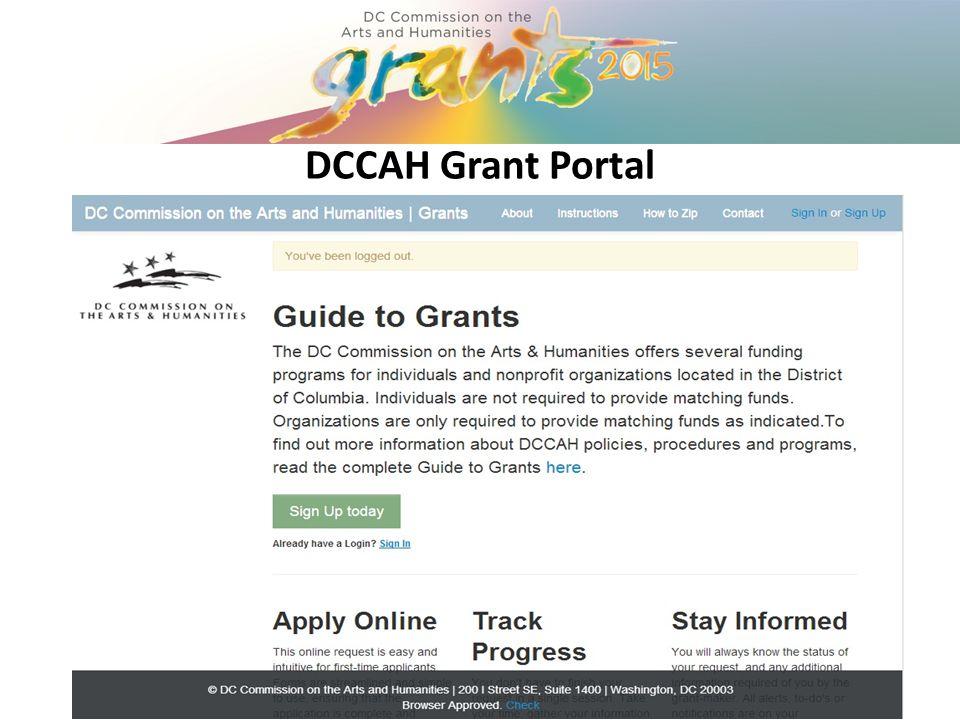 DCCAH Grant Portal