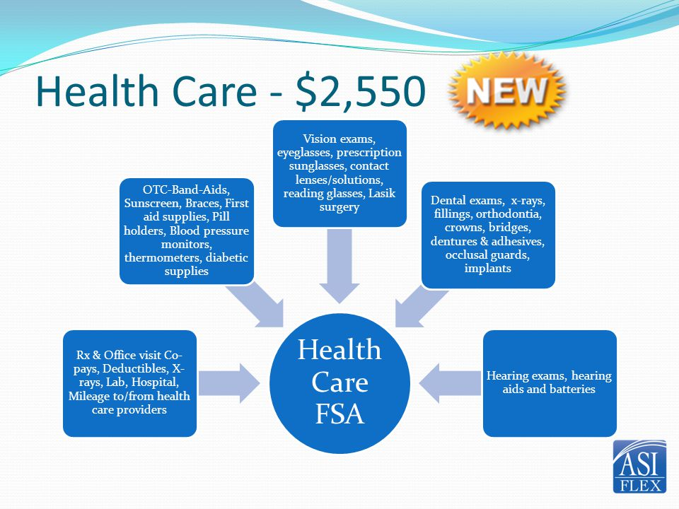 Health Care - $2,550 Health Care FSA Rx & Office visit Co- pays, Deductibles, X- rays, Lab, Hospital, Mileage to/from health care providers OTC-Band-A