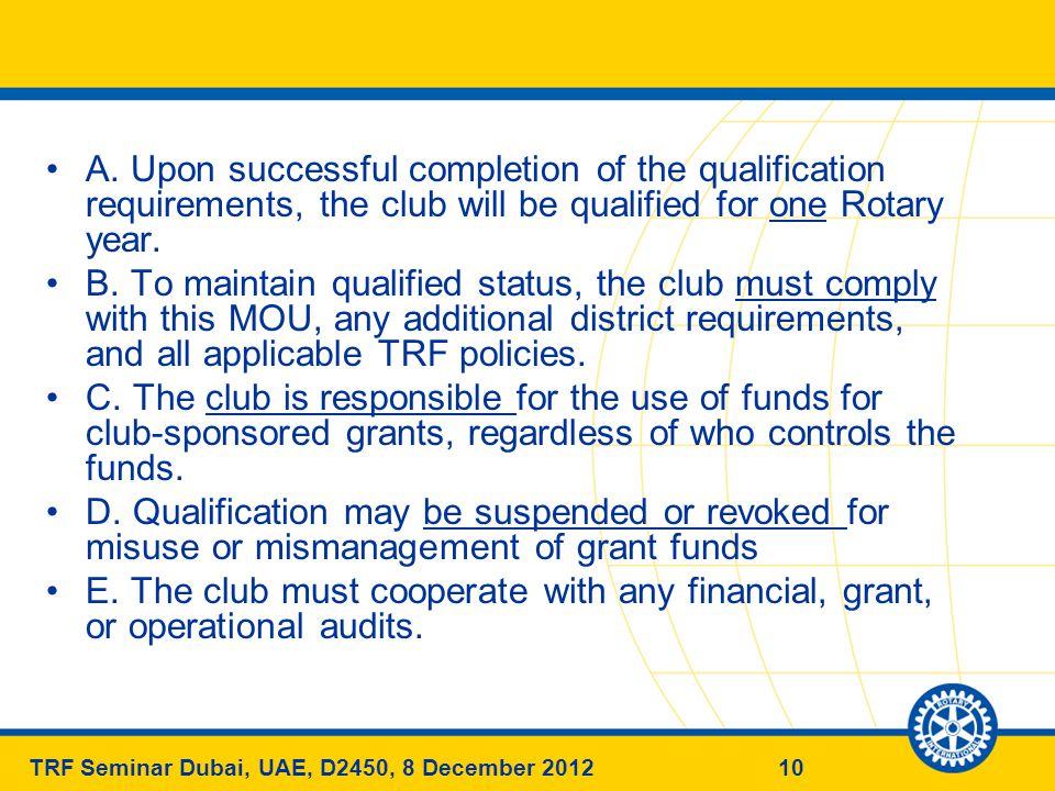 10TRF Seminar Dubai, UAE, D2450, 8 December 2012 A.