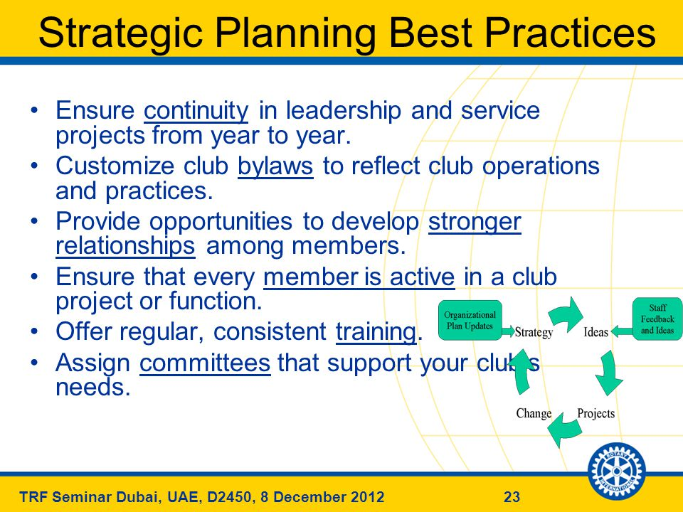 23TRF Seminar Dubai, UAE, D2450, 8 December 2012 Strategic Planning Best Practices Ensure continuity in leadership and service projects from year to year.