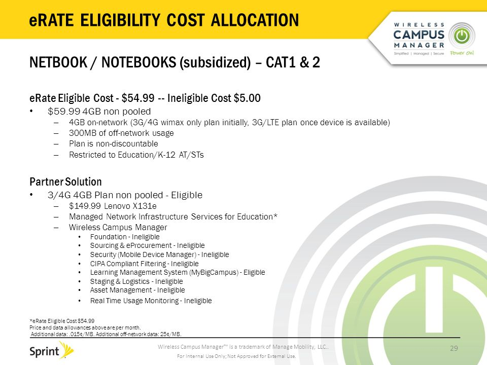 Wireless Campus Manager™ is a trademark of Manage Mobility, LLC.. eRATE ELIGIBILITY COST ALLOCATION NETBOOK / NOTEBOOKS (subsidized) – CAT1 & 2 eRate