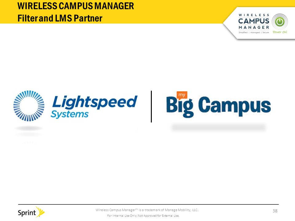 Wireless Campus Manager™ is a trademark of Manage Mobility, LLC.. WIRELESS CAMPUS MANAGER Filter and LMS Partner 38 For Internal Use Only; Not Approve