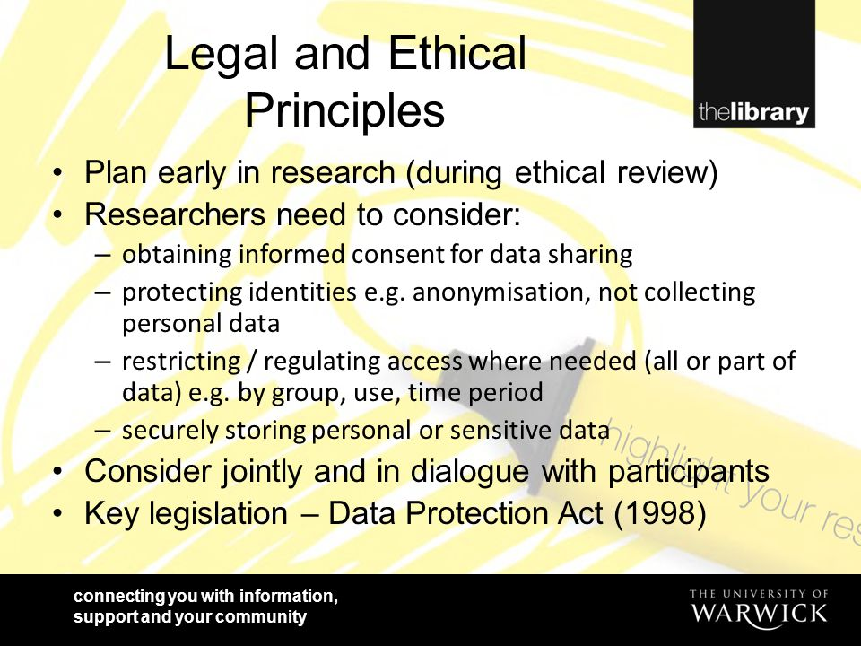 connecting you with information, support and your community Legal and Ethical Principles Plan early in research (during ethical review) Researchers ne