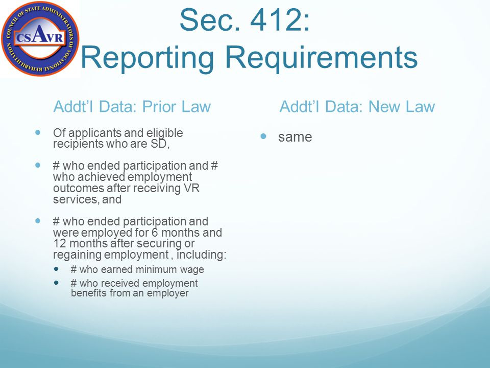 Sec. 412: Reporting Requirements Addt'l Data: Prior Law Of applicants and eligible recipients who are SD, # who ended participation and # who achieved