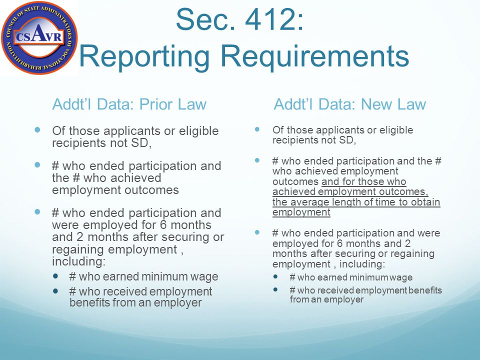 Sec. 412: Reporting Requirements Addt'l Data: Prior Law Of those applicants or eligible recipients not SD, # who ended participation and the # who ach