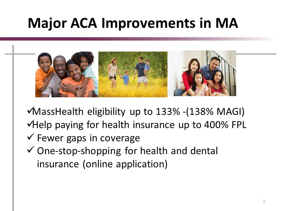 Health Insurance Connector Authority Massachusetts' Exchange or Marketplace Place to buy private insurance called Qualified Health Plans Subsidized and unsubsidized Must be US citizen or lawfully present immigrant 3