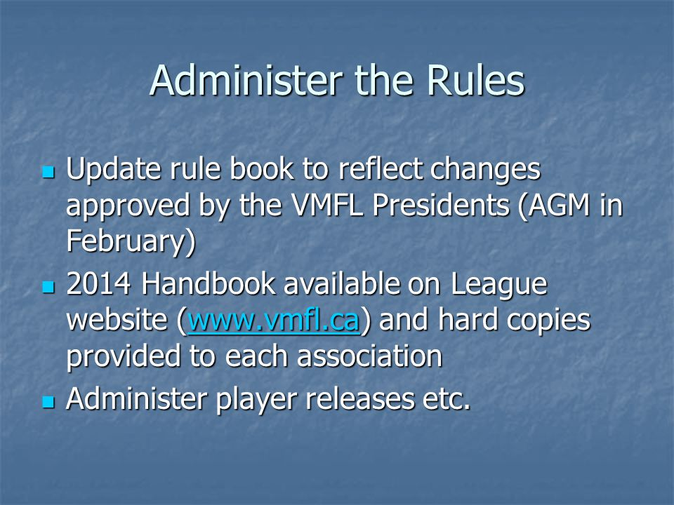 Apply the Rules Enforcement Enforcement Review Game Reports and other information, track penalties accumulated, ejections etc.