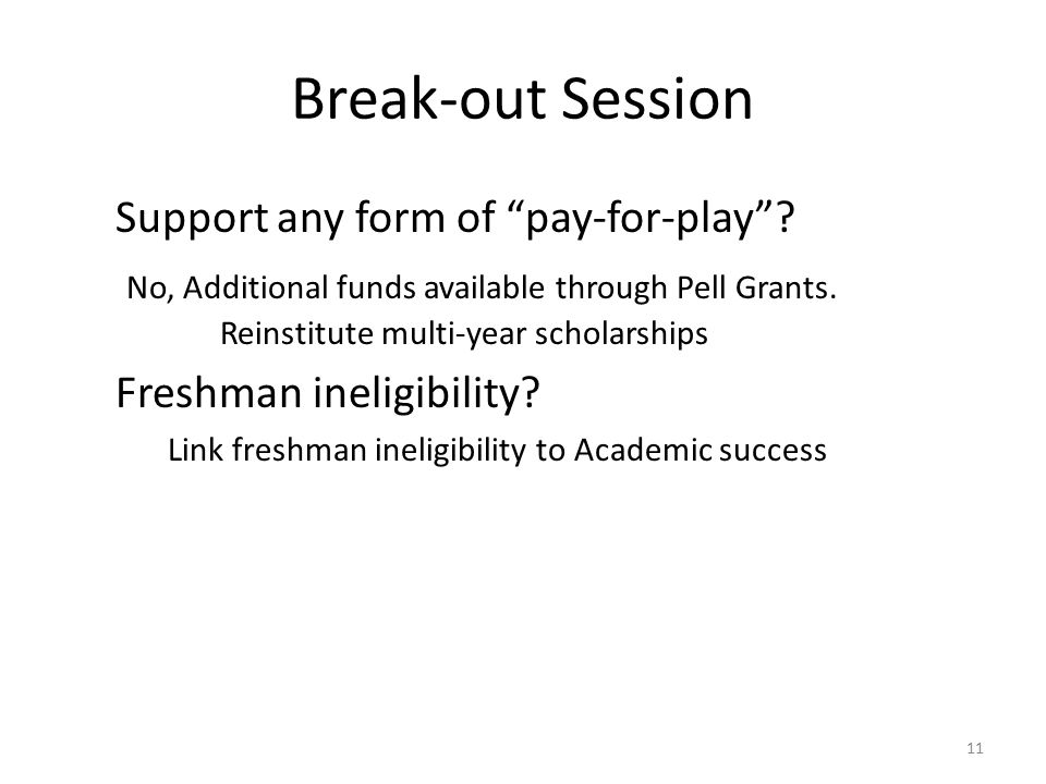 Break-out Session Support any form of pay-for-play .