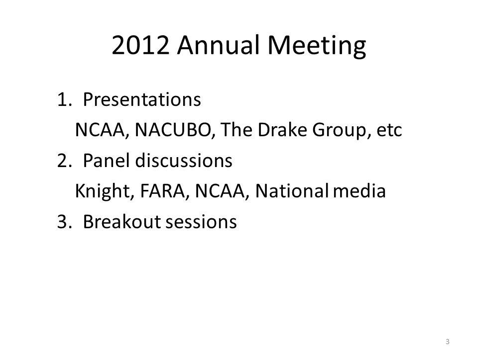 2012 Annual Meeting 1.Presentations NCAA, NACUBO, The Drake Group, etc 2.