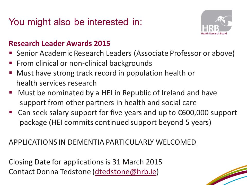 You might also be interested in: Research Leader Awards 2015  Senior Academic Research Leaders (Associate Professor or above)  From clinical or non-