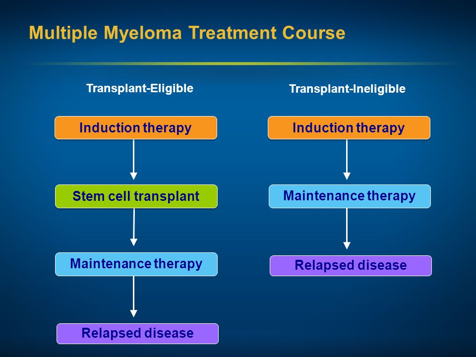 Multiple Myeloma Treatment Course Induction therapy Stem cell transplant Maintenance therapy Relapsed disease Induction therapy Maintenance therapy Re