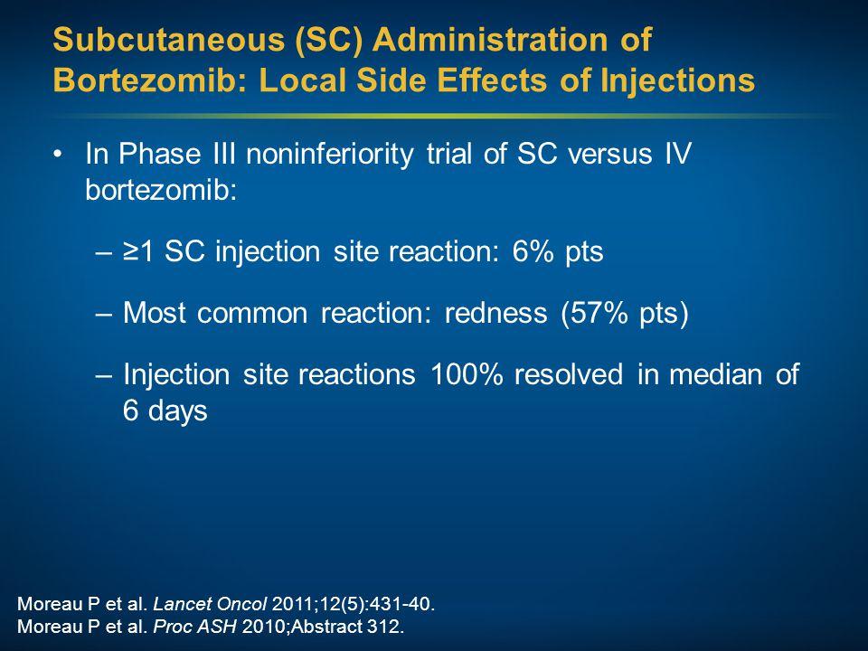 Moreau P et al. Lancet Oncol 2011;12(5):431-40. Moreau P et al. Proc ASH 2010;Abstract 312. Subcutaneous (SC) Administration of Bortezomib: Local Side